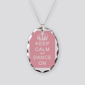 Keep Calm and Dance On Pink Ba Necklace Oval Charm